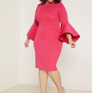 Pink flare sleeve scuba knit dress NWT